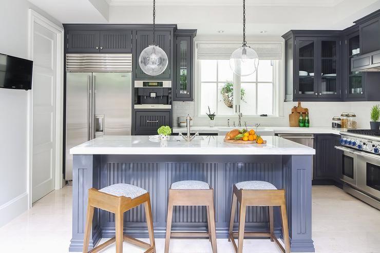Black Beadboard Trim Cabinets in Kitchen | Beadboard ...