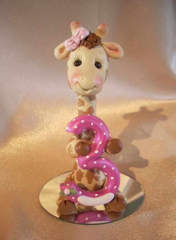 giraffe birthday cake topper decoration Christmas by clayqts