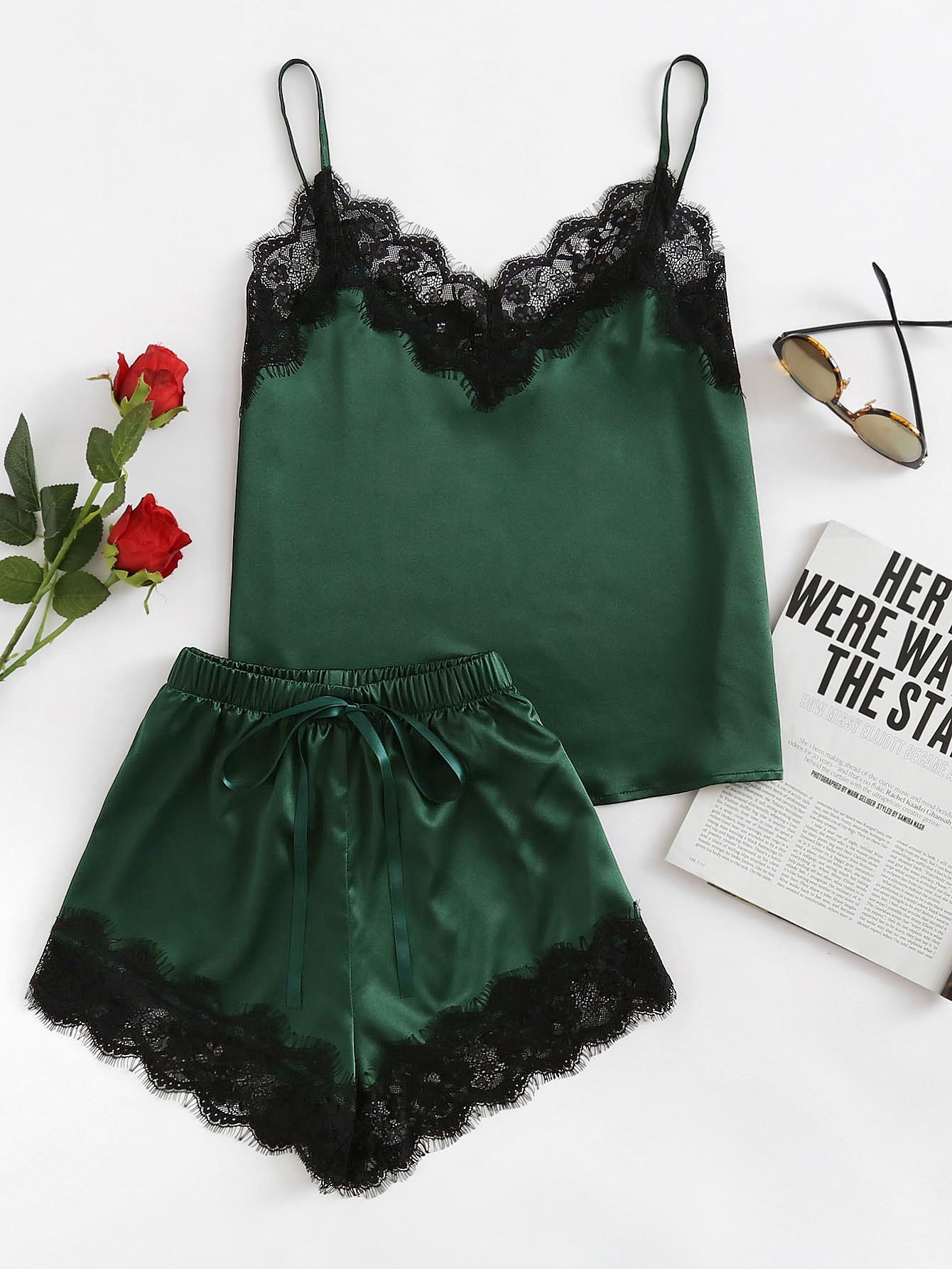 Shop Lace Trim Satin Cami And Shorts Pajama Set online. SheIn offers Lace  Trim Satin Cami And Shorts Pajama Set   more to fit your fashionable needs. 228548962