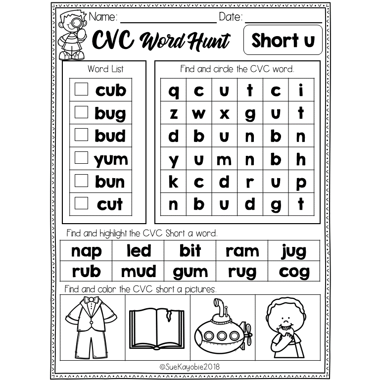 CVC Short Vowel Word Hunt Freebies Short vowel words