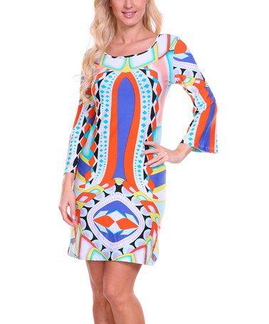 Another great find on #zulily! Orange & Blue Diamond Scoop Neck Dress #zulilyfinds