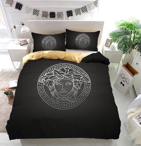 Luxury Versace Logo Custom 3d Customized Bedding Sets Duvet Cover Bedlinen Bed Set In 2021 Duvet Bedding Sets Customised Bed Custom Bed