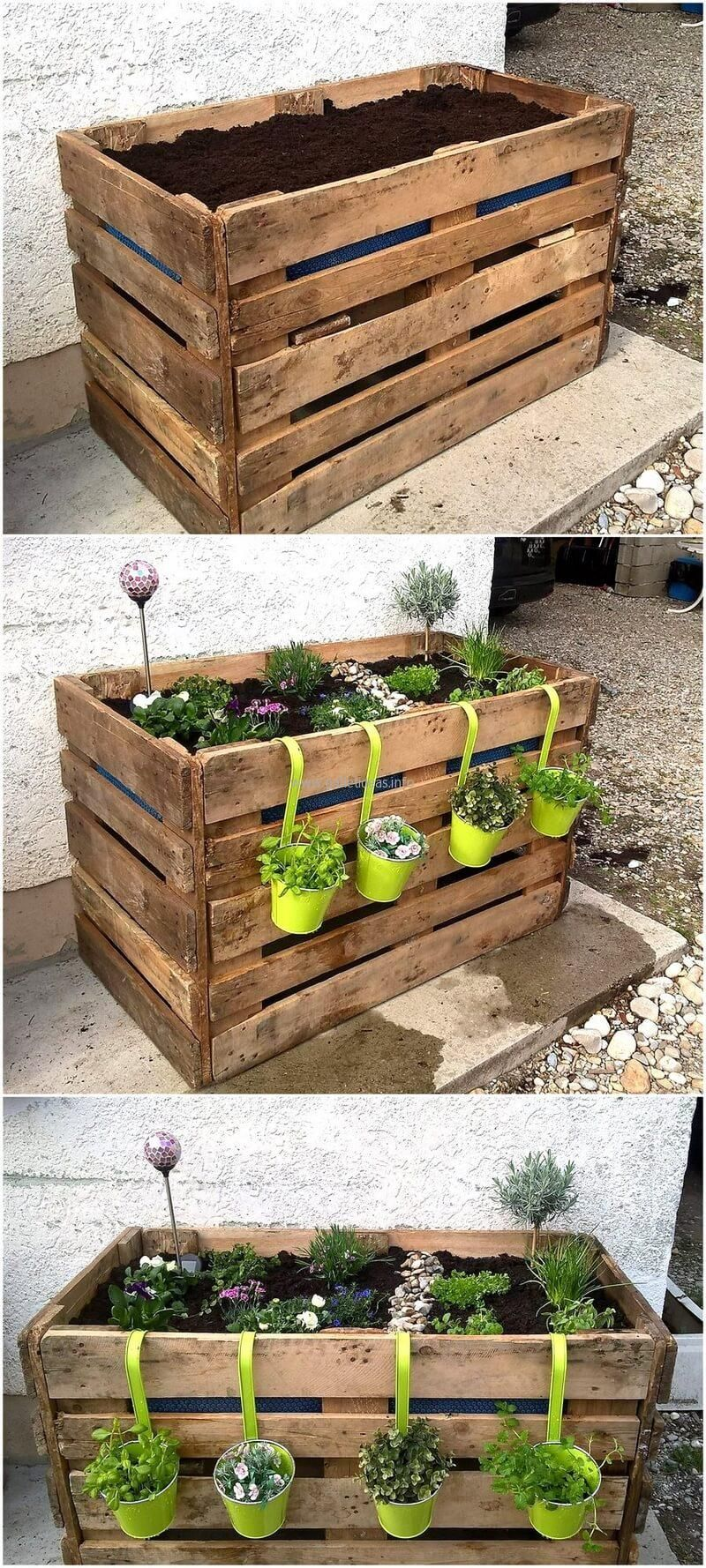 Diy Pallet Planter Ideas Rustic Garden