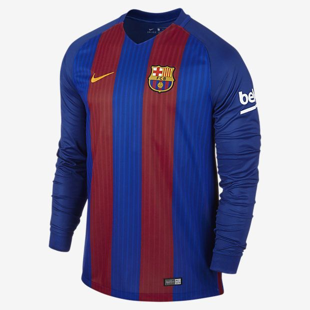 26a6617c4ce NIKE LIONEL MESSI FC BARCELONA LONG SLEEVE HOME JERSEY 2016 17 YOUR TEAM.  YOUR COLOURS. The 2016 17 FC Barcelona Stadium Home Men s Long-Sleeve  Football ...