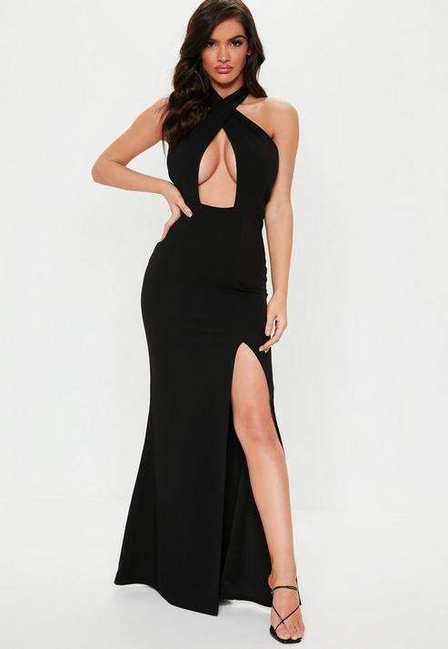 cc76e82dab3d Missguided Black Halterneck Cross Front Maxi Dress in 2019 ...