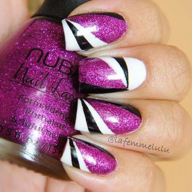 black and purple nail art nails