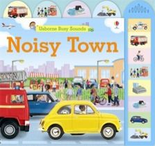Noisy town  It's a normal, busy day in the noisy town with sirens blaring, people chatting, bells ringing and horns honking. Little hands won't be able to resist pressing the buttons to make the clock chime, people talk, horns honk and police cars whiz by. Illustrated with photographs of the handmade models of Jo Litchfield. Strong tabs at the top of the pages enable children to find their favourite scenes.