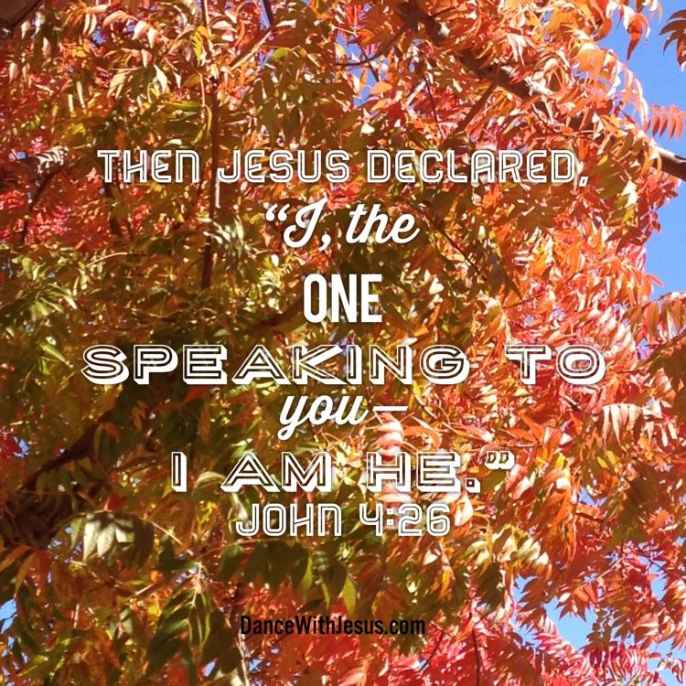 """Then Jesus declared,  """"I, the one  speaking to you— I am he.""""  John 4:26  #DanceWithJesus"""