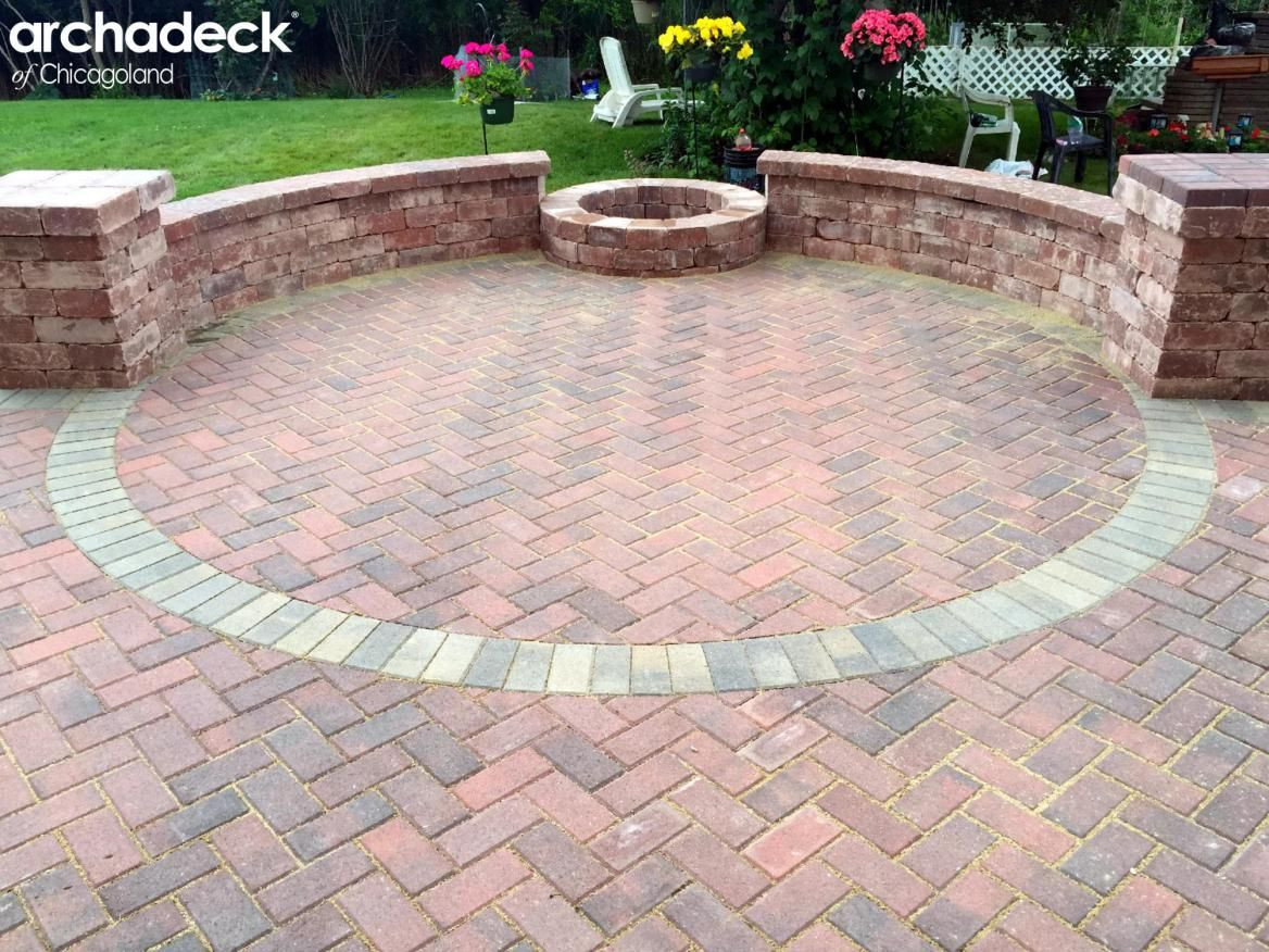 Belgard Holland Stone Patio with Fire Pit by Mundelein Patio Builder Archadeck of Chicagoland