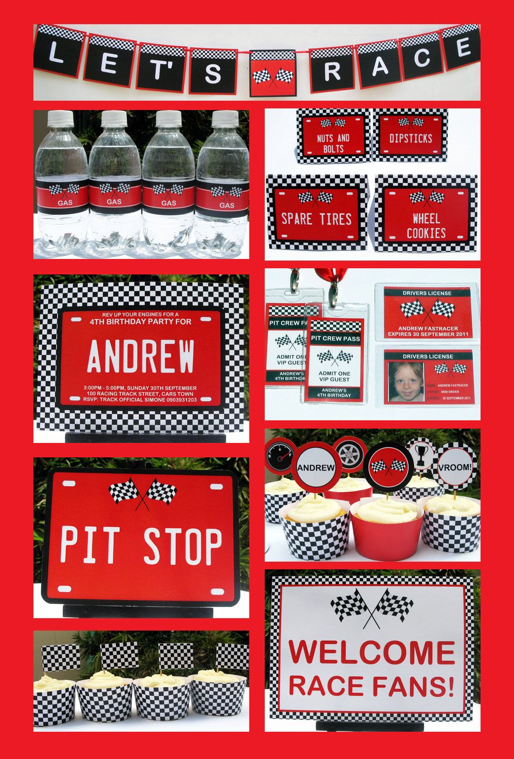 Race Car Party Invitation & Decorations full Printable