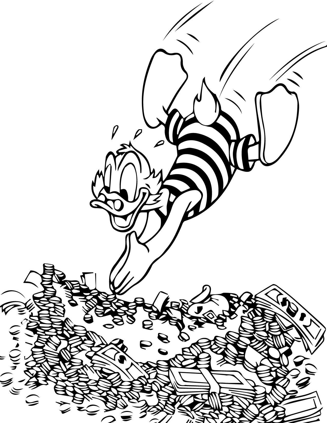 cool Donald Duck Swimming Money Rich Coloring Page Check more at ...