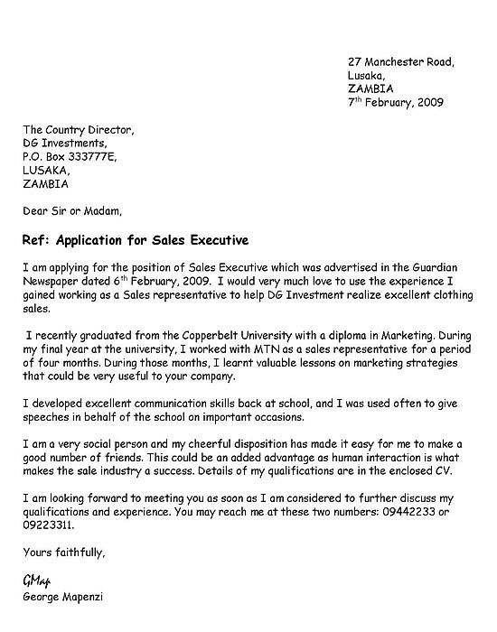 application letter for employment