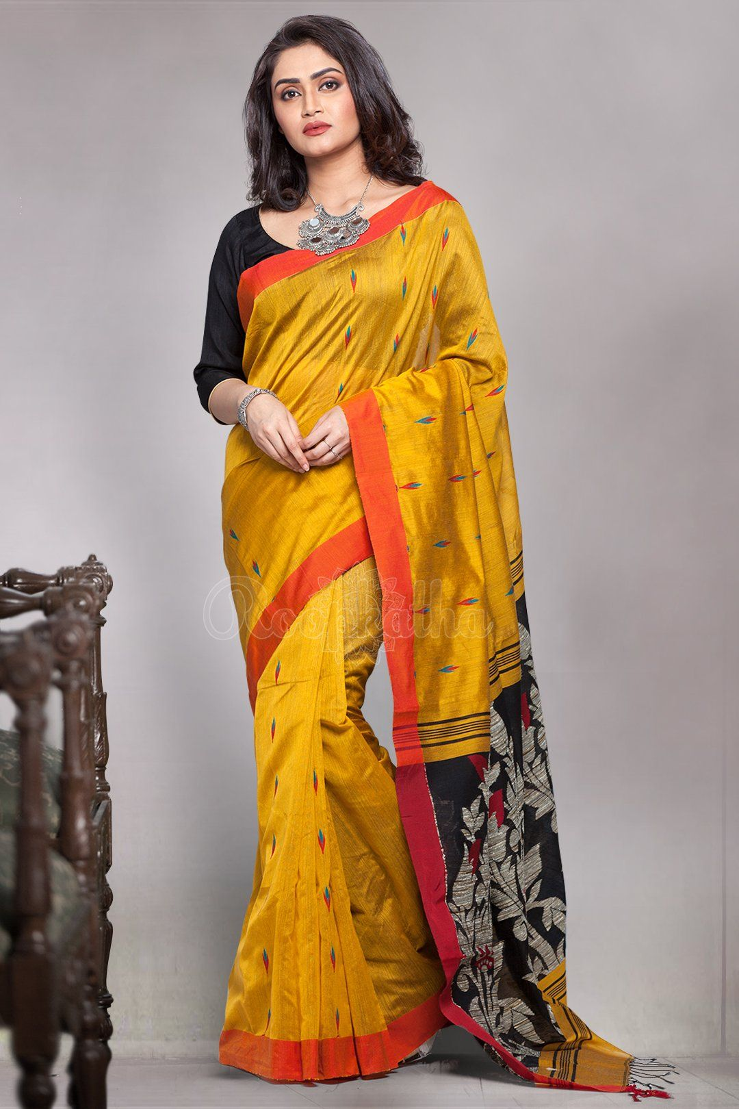 Yellow Blended Cotton Saree With Black Woven Pallu