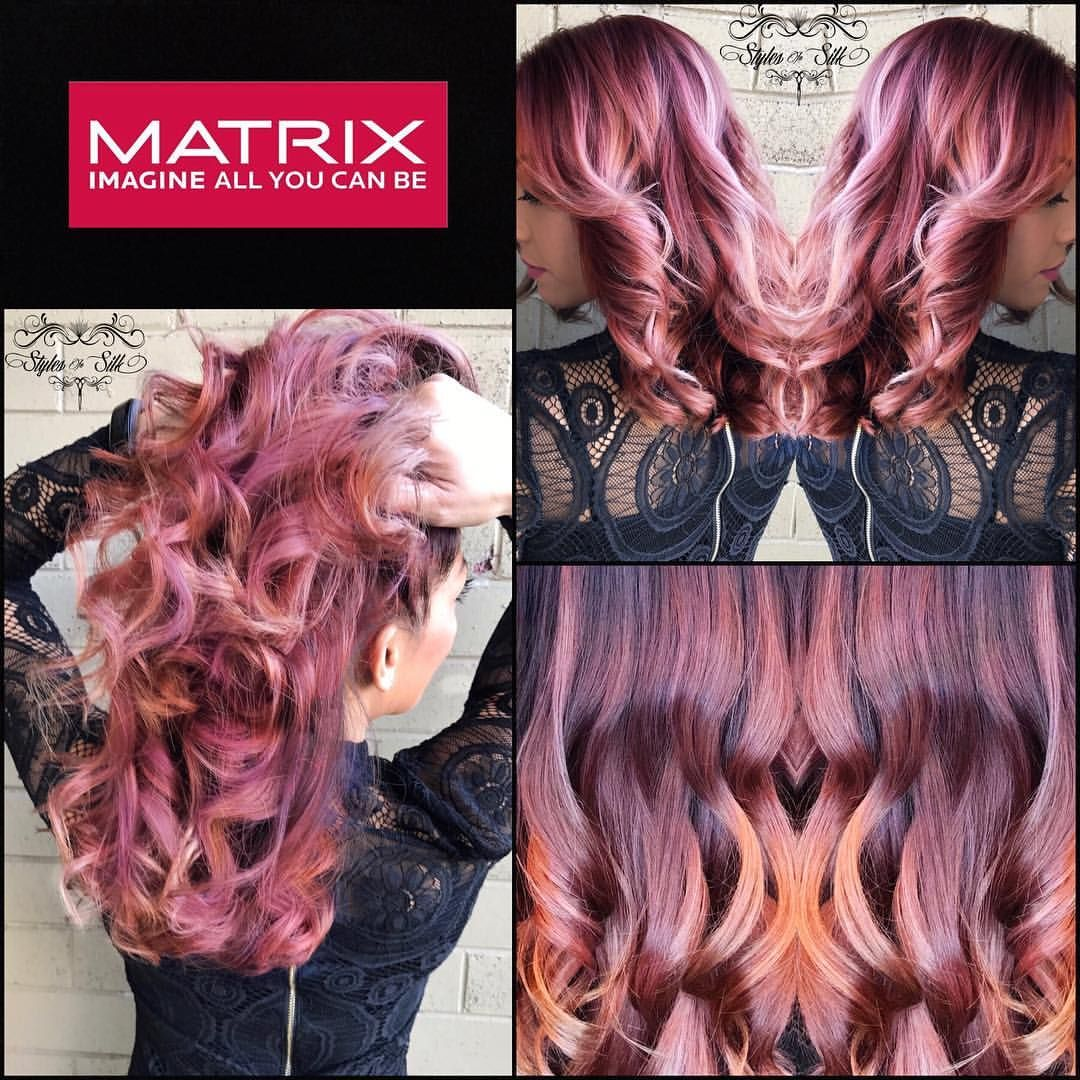 2017 Hair Stylesinsilk Rose Gold Matrix Watercolor Very Berry