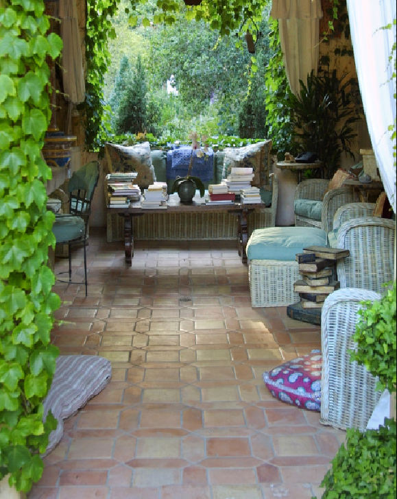 Covered Patio With Stone Tile Floor Take Me Away