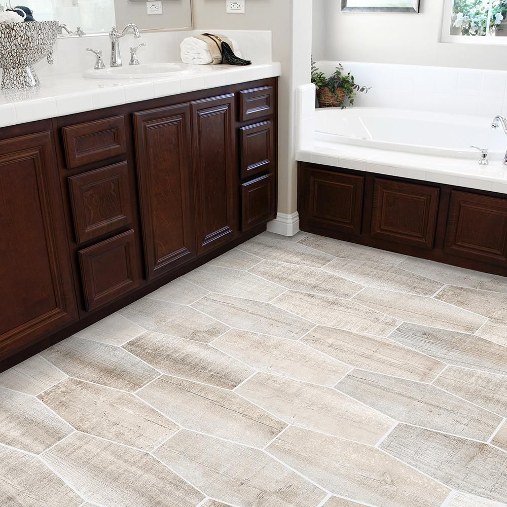 Jeffrey Court Oakwood Lily Taupe 9 5 In X 19 25 In Matte