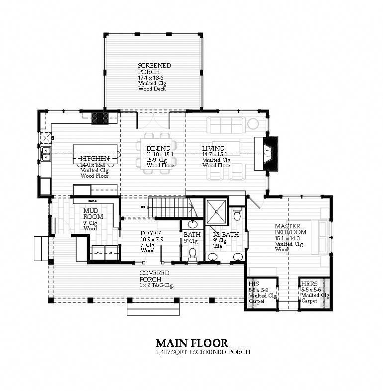 Seagull Transitional Coastal Cottage Style Residential Floor Plan
