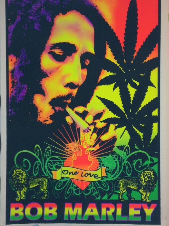 Bob Marley - Smoking One Love Blacklight Poster-Bob Marley - Smoking One Love Black Light PosterThis flocked Bob Marley Velvet Blacklight Poster features a ...