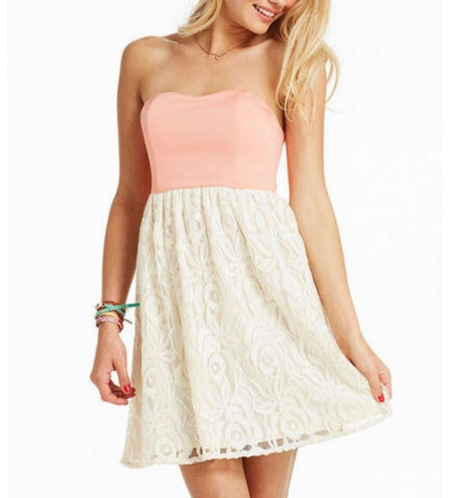 Super Cute Simple Dress, Pink And White Lace  My Style -7728