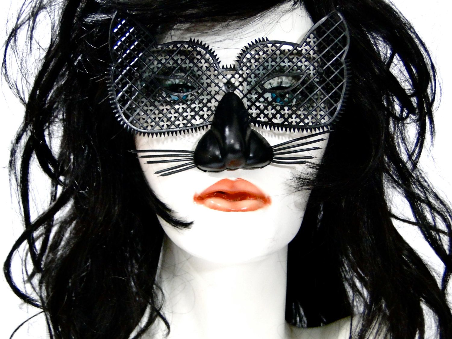 Vintage Halloween Cat Mask 1950s Made in Hong Kong Plastic // NOS ...
