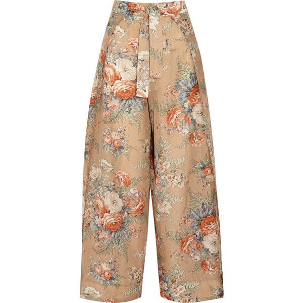 Zimmermann Anais printed cotton and silk-blend wide-leg pants (£165) ❤ liked on Polyvore featuring pants, bottoms, zimmermann, neutrals, patterned pants, floral pants, colorful wide leg pants, flower print pants and colorful pants