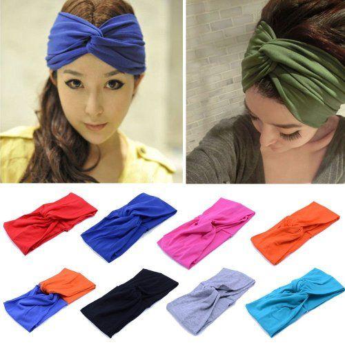 Vintage Women Head Wrap Soft Hair Band Rhinestone Headwear Turban Twist Headband