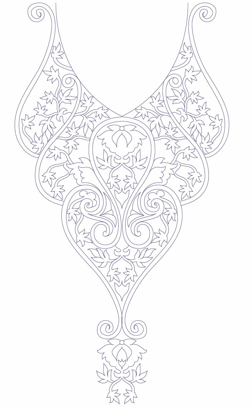 Neck Line Embroidery Design Development | Damask-Art Nouveau-Baroque ...