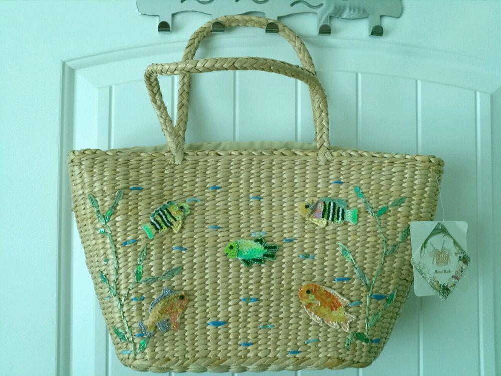 Nwt Celli Handmade Straw Sequins Beads Fish Medium Lightweight Purse Tote Bag