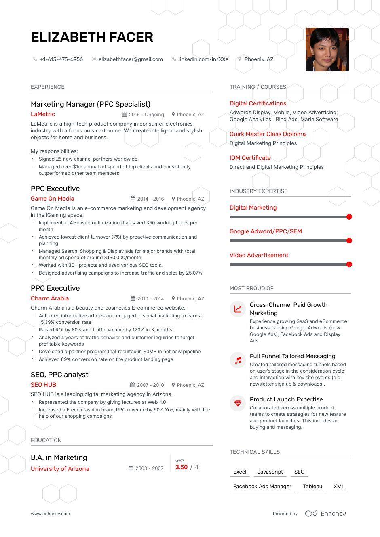 Ppc Specialist Resume Examples Pro Tips Featured Resume Examples Marketing Resume Resume
