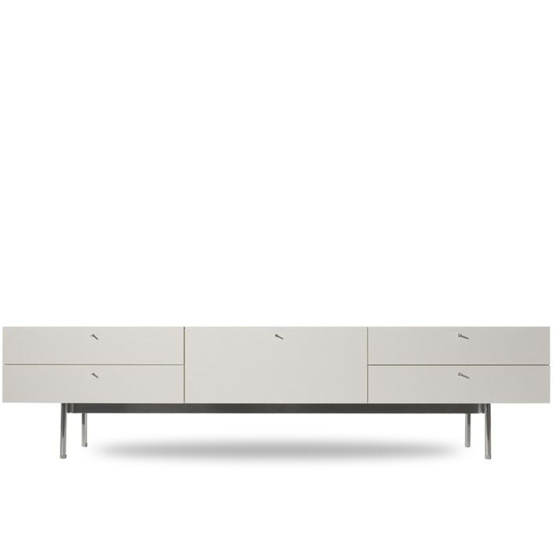 This three piece Cassina 255 Flat Low Credenza features white lacquer  cabinets and a white Carrera Marble top, and sits on a single aluminum  raised base by ...
