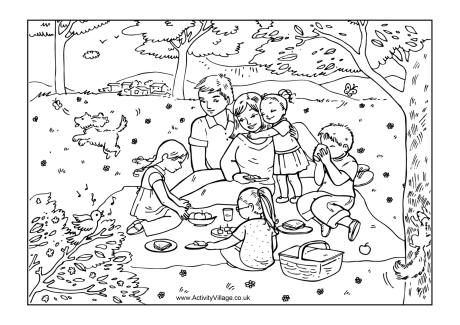 Family Picnic Colouring Page Mothers Day Coloring Pages Summer