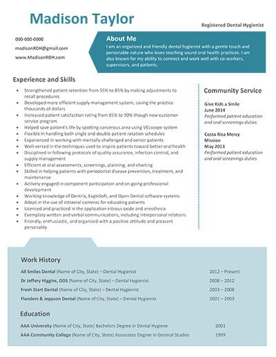 Madison Taylor Dental Hygiene Resume Template.