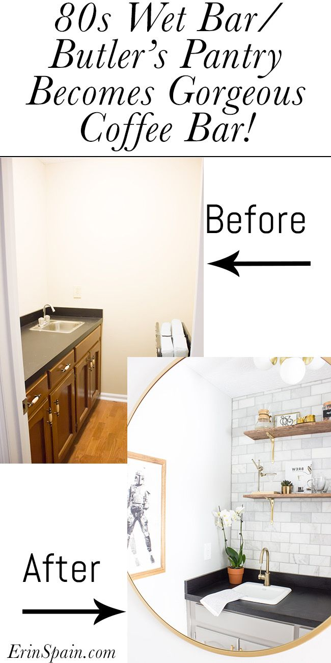 This Coffee Bar Makeover Is Stunning It Used To Be An 80s Wet Butler S Pantry And Was Made Over For The One Room Challenge