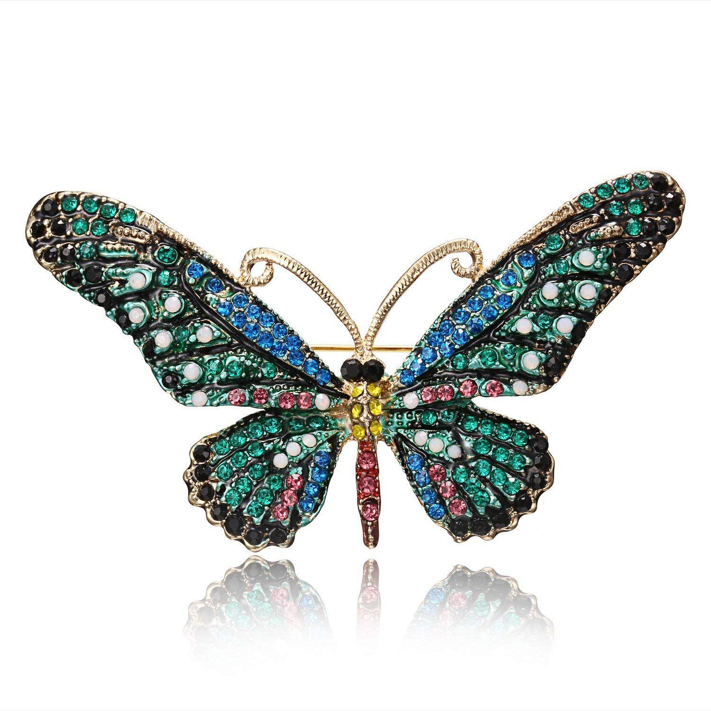 Photo of RINHOO FRIENDSHIP Vintage Butterfly Brooch Pin Rhinestones C…