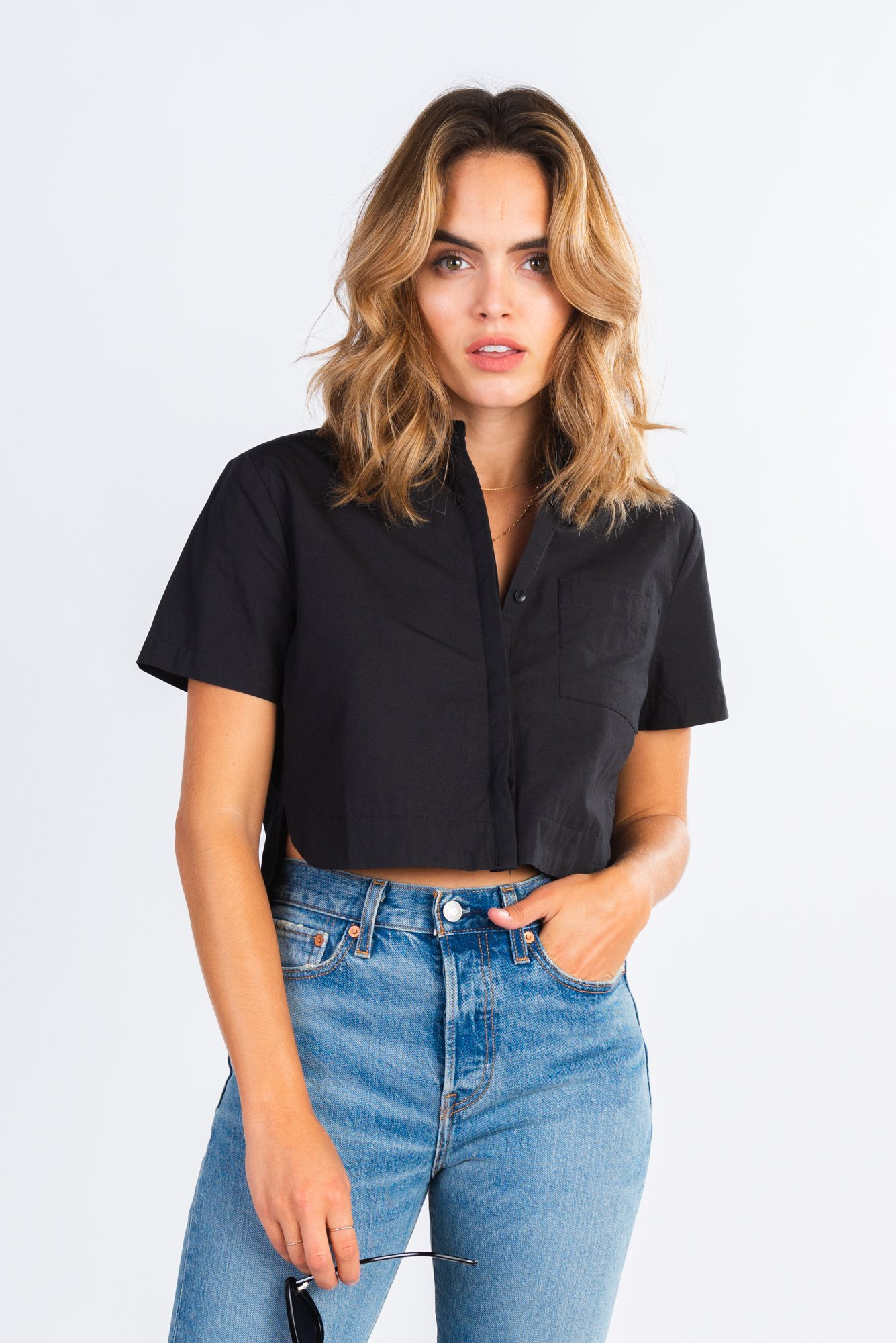 5aabd7f2 boxy cropped button down shirt, button up crop top, paired with your  favorite denim, modern basics