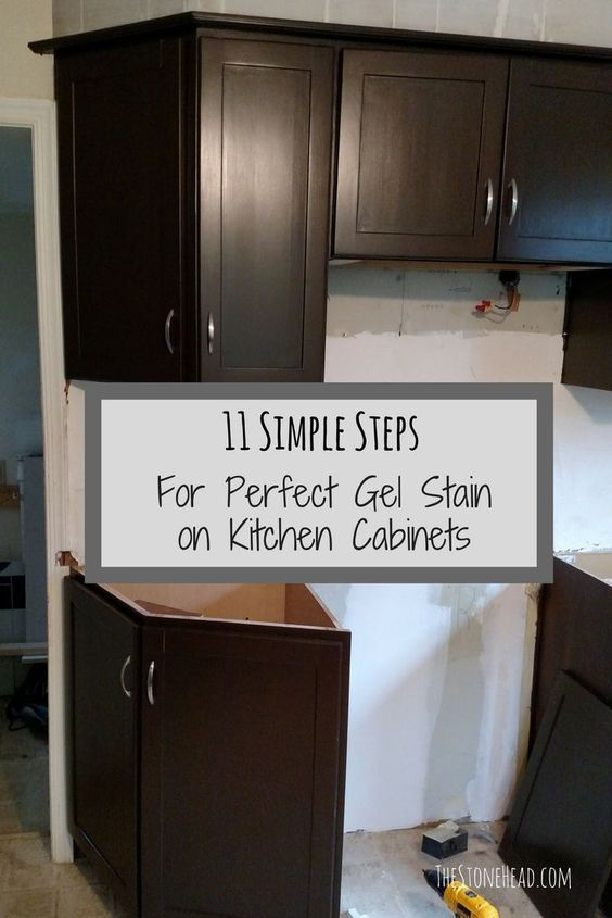 How to gel stain kitchen cabinets. A gel staining tutorial with 11 simple steps for the perfect gel stain finish on kitchen cabinets! I did the kitchen and bathroom cabinetry with general finishes gel stain in antique walnut.. check out the before and aft