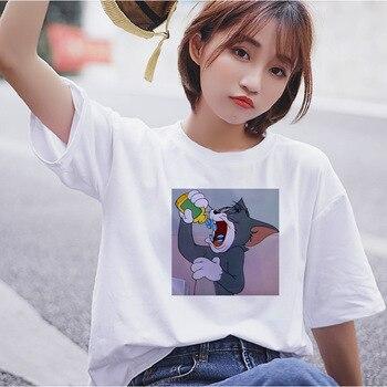 Harajuku Fun Cat Tom Mouse Jerry Cute Short Sleeve TShirt