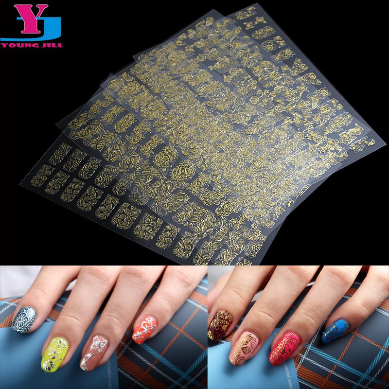 8pcs Mix Design Gold Silver Metallic 3d Nail Art Stickers Perfect