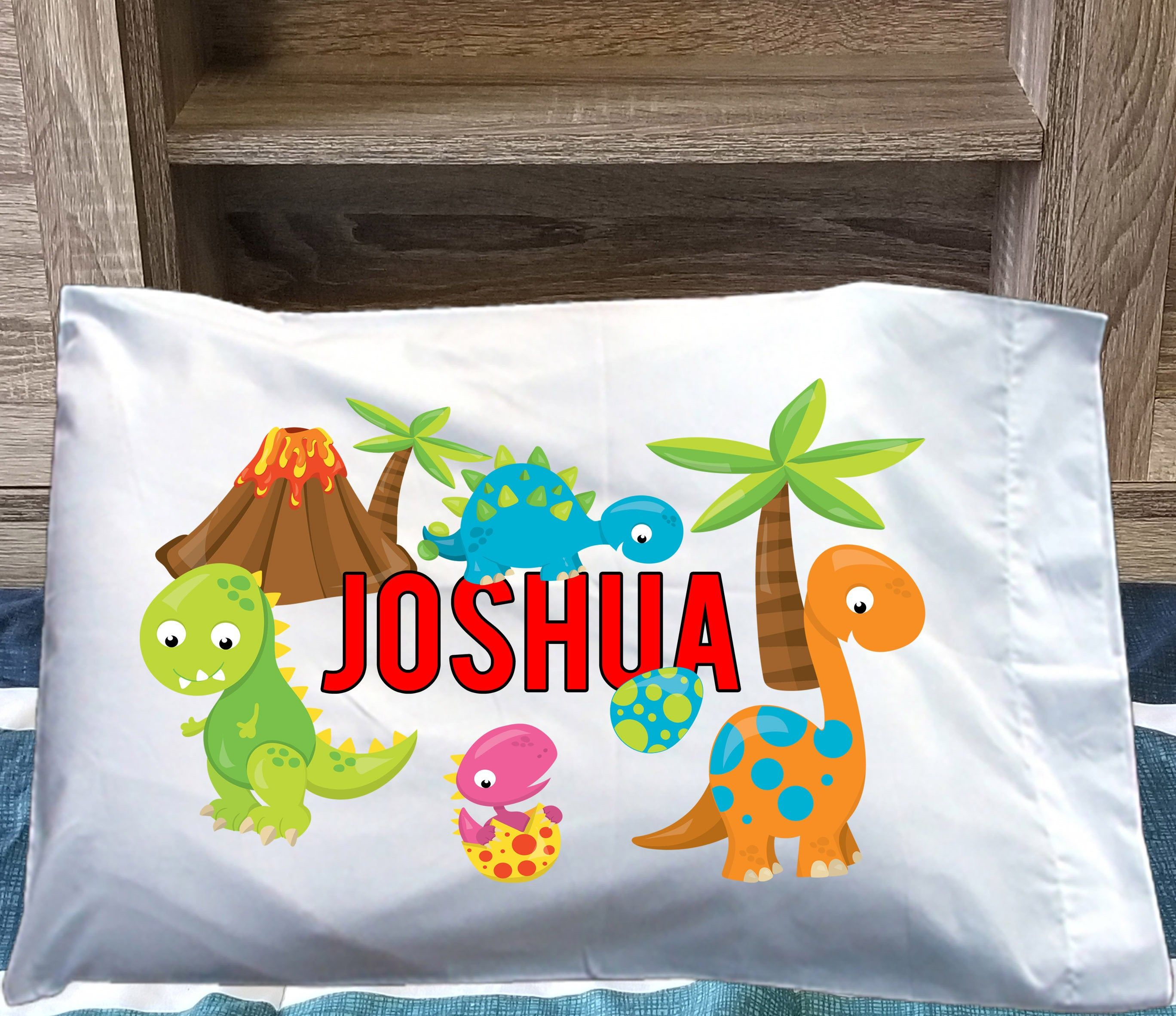 Dinosaur Kids Pillowcase Dinosaur Pillowcase Personalized Etsy Kids Pillow Cases Personalized Pillow Cases Dinosaur Kids