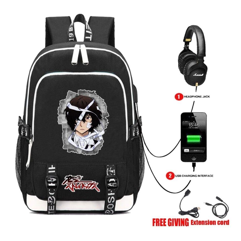 Anime Dangan Ronpa Backpack USB Charge Headphone jack school bag laptop Backpack