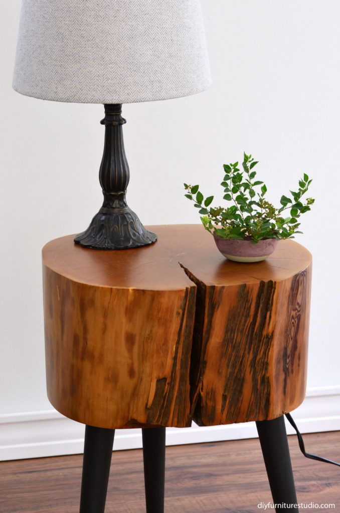 Tree Stump Side Table With Mix And Match Diy Leg Options Diy Furniture Studio In 2020 Furniture Legs Diy Furniture Tree Stump Side Table