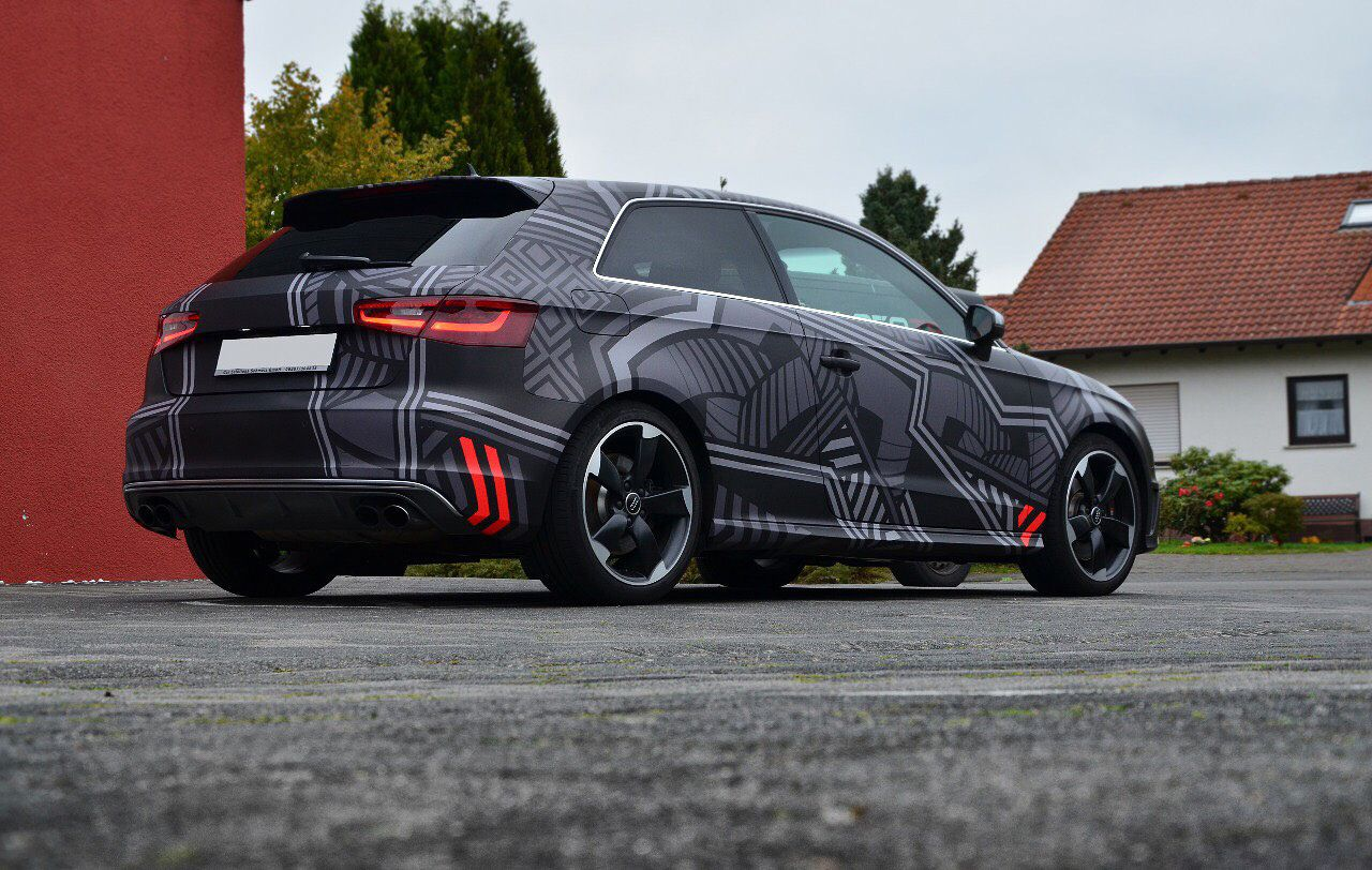 Audi S3 Dazzle Camo Autofolierung Folierung Fahrzeugbeschriftung