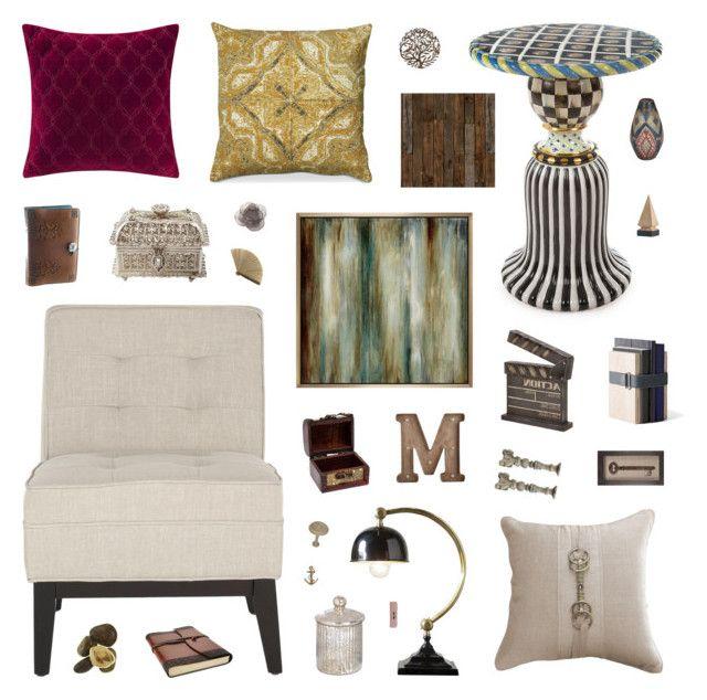 """Milan Loft: Common Room"" by belenloperfido ❤ liked on Polyvore featuring interior, interiors, interior design, Zuhause, home decor, interior decorating, MacKenzie-Childs, Safavieh, Bandhini Homewear Design und Madison Park"