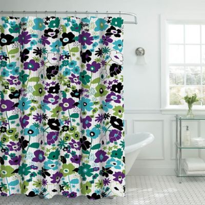 Stencil Floral Shower Curtain With Hooks In