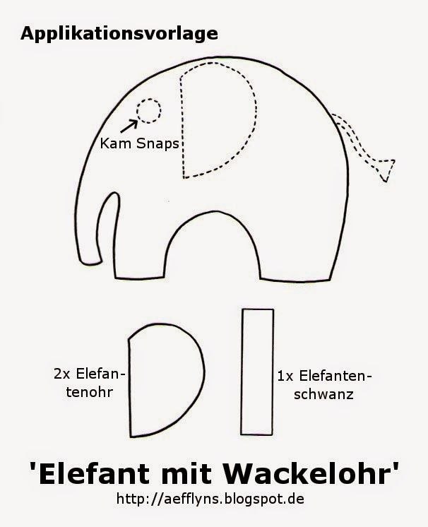 aefflyns  to go freebies  elefant applikation vorlagen