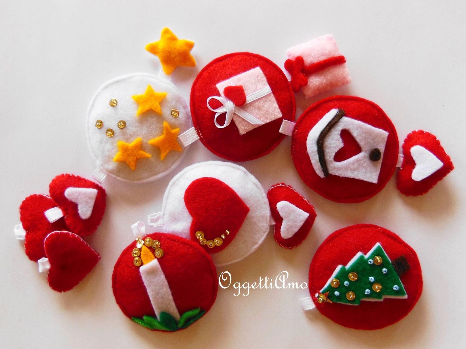 Set di decorazioni natalizie in feltro rosso e bianco - Decorazioni natalizie ...