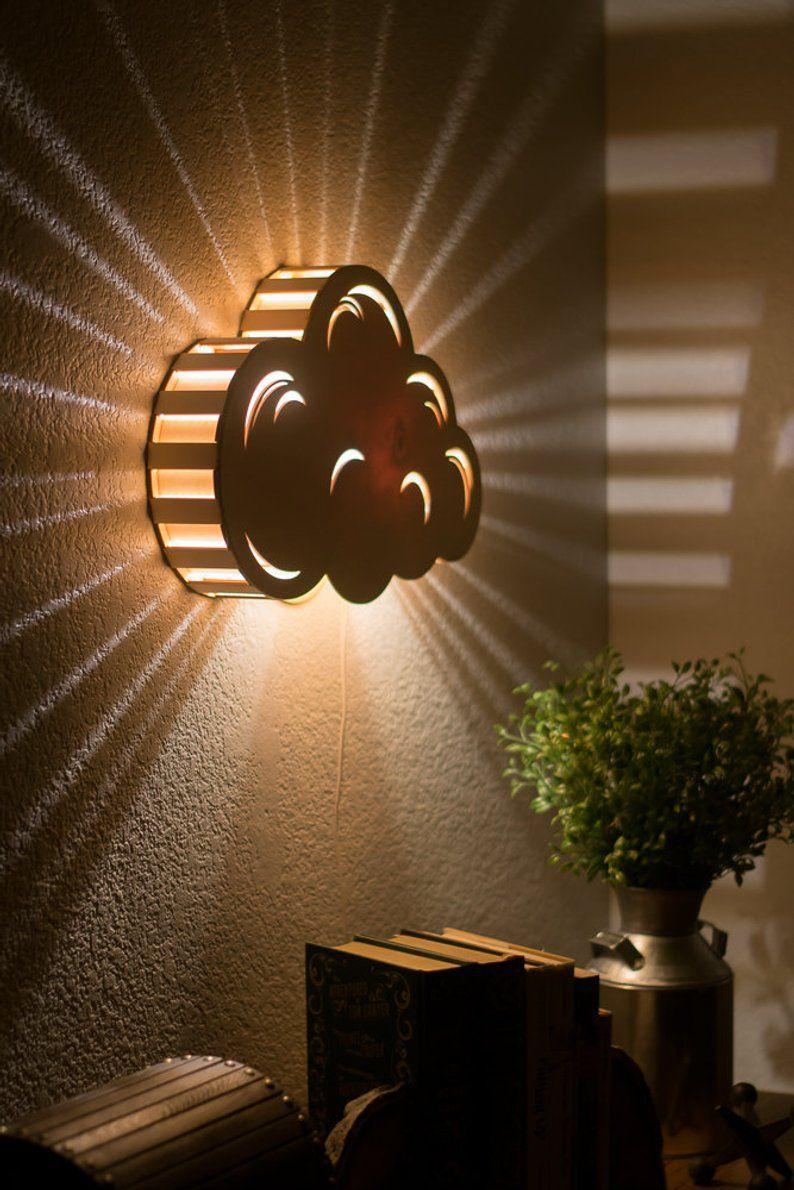 Cloud Night Light Wooden Wall Hanging Bedside Lamp Kid