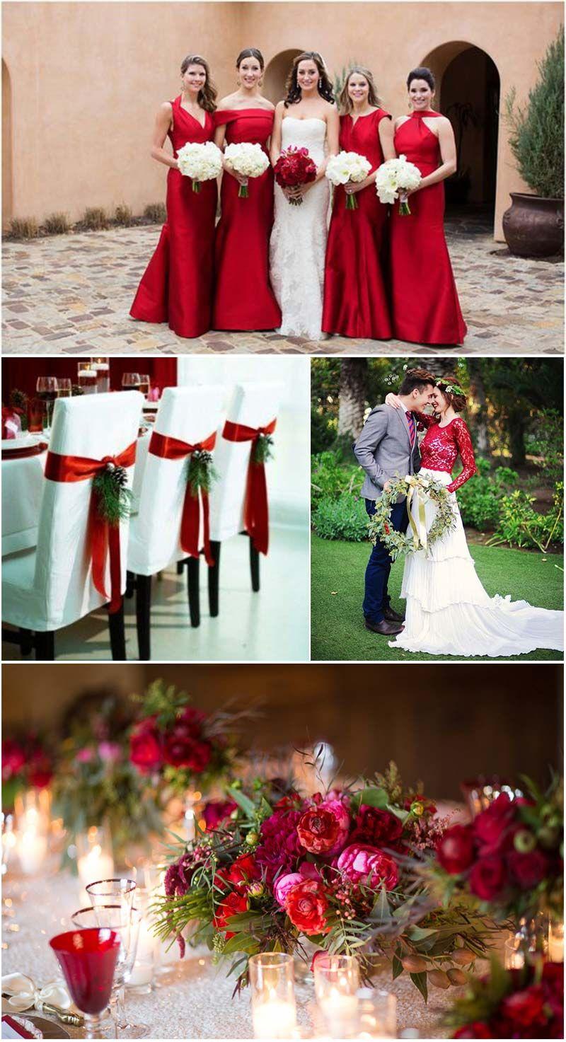 Resultado de imagem para decoração de casamento no Natal em vermelho, verde e branco