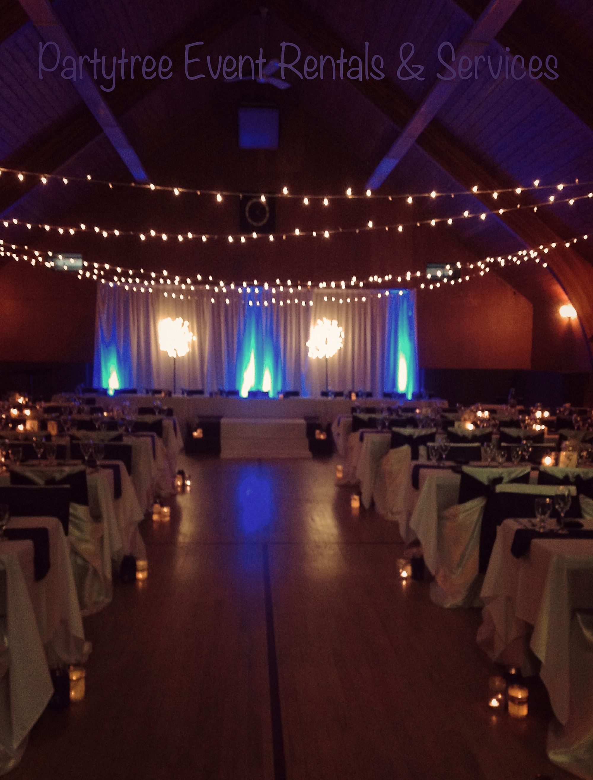 String Lights For Events : Wedding with string lights @ Camp River Hall, Chilliwack. Done by Partytree Event Rentals ...