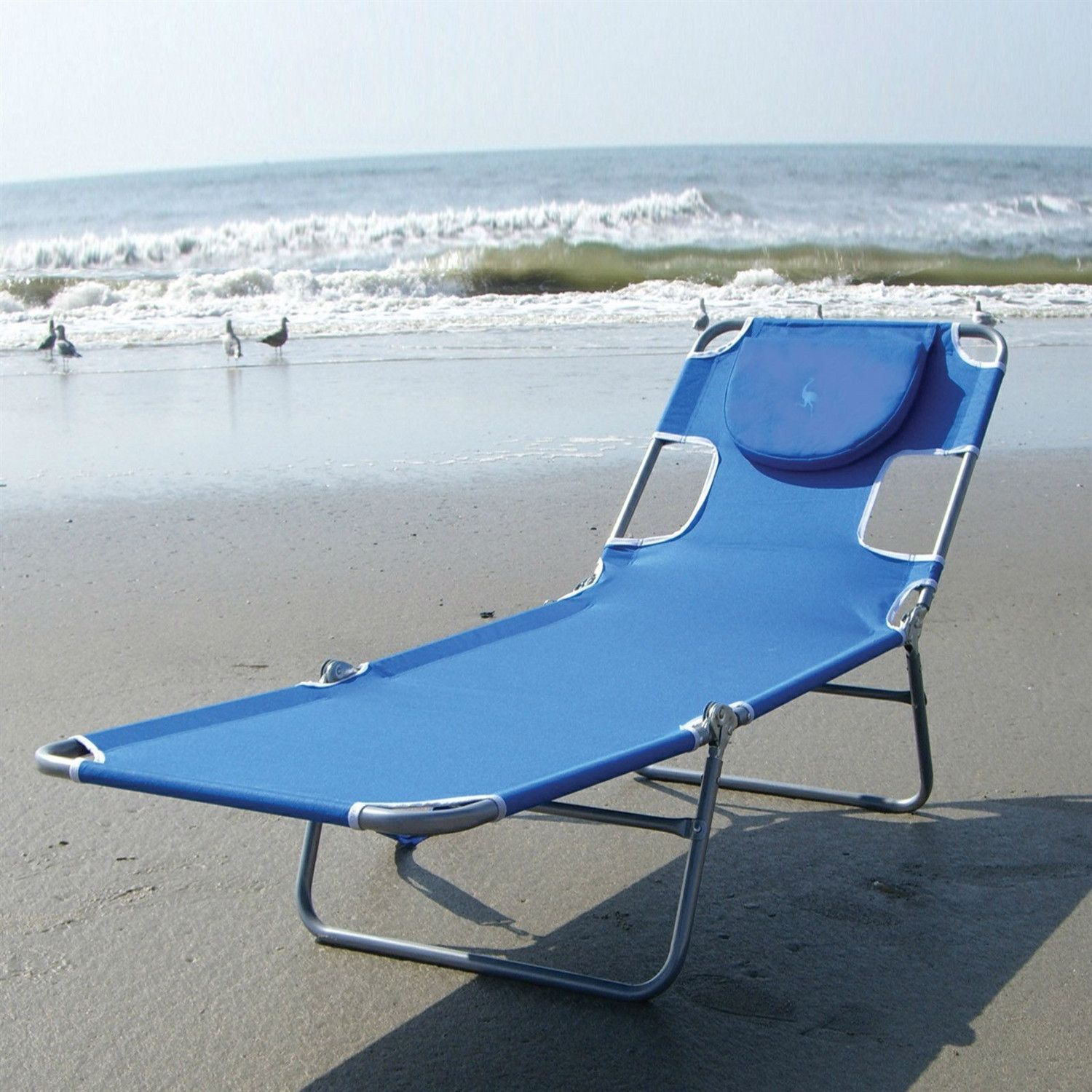 Beach Lounge Chairs Blue Chaise Lounge Beach Chair With Rustproof Steel Frame In 2019